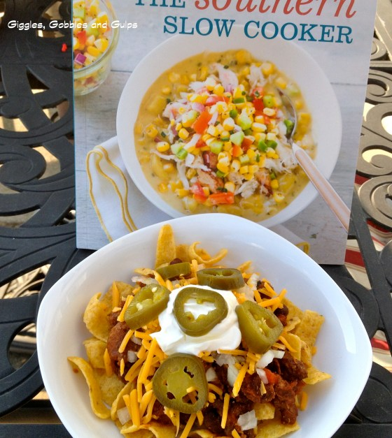Frito Pie with Chili con Carne made by me from the Southern Slow Cooker cookbook