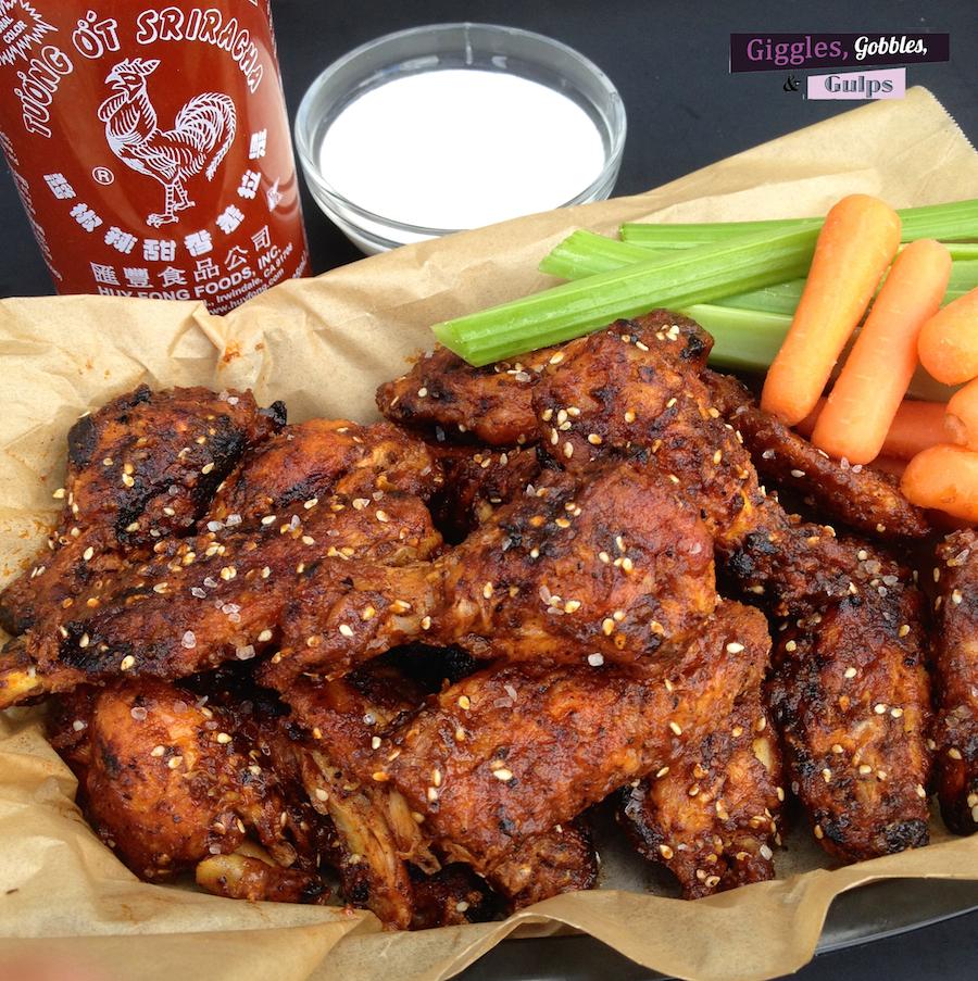 Grilled Sriracha Sesame Chicken Wings