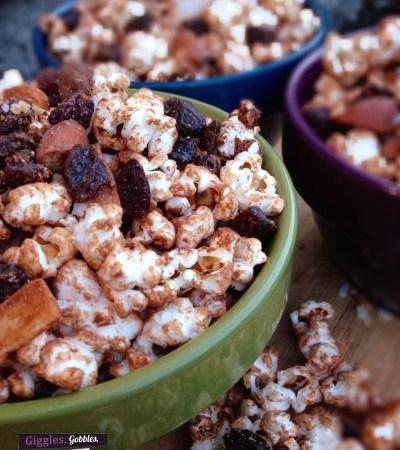 Coconut Raisin Chocolate Almond Popcorn