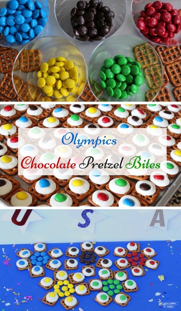 olympics chocolate pretzel bites collage