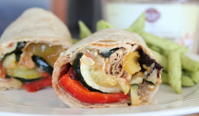 Roasted Vegetable Hummus Wraps