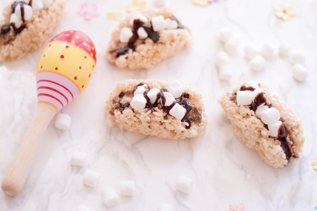 No Bake Rice Krispies S'mores Tacos