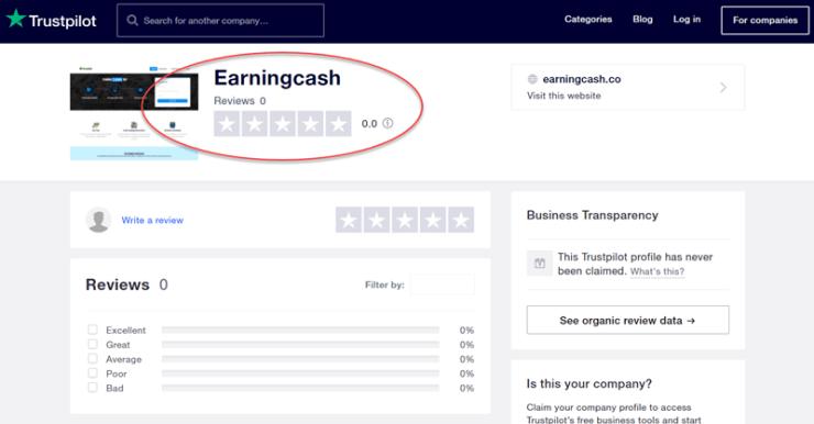 EarningCash Trustpilot Rating 0