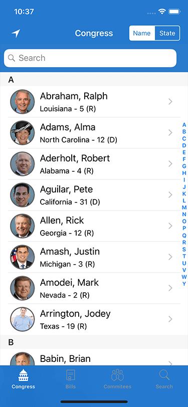 Congress for iOS Congress List Screen