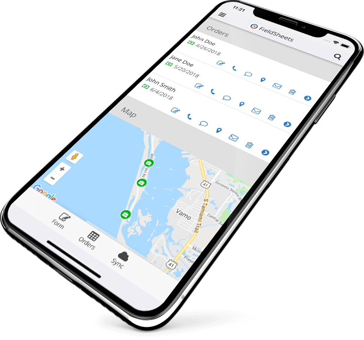 FieldSheets Dashboard Screen