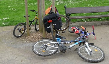 Bikes a-waiting for biking in the park