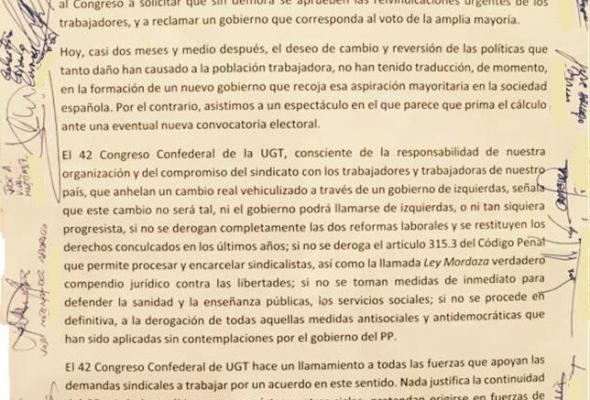 """El 42º Congreso de UGT: """"Por un Gobierno de Izquierdas"""""""