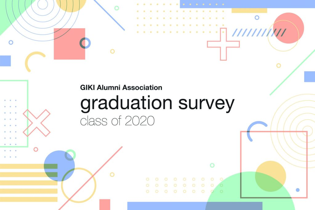 Graduation survey poster that signifies the aesthetic and theme of the event