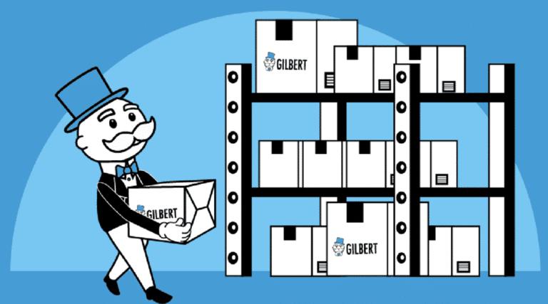 Gilbert en train de stocker