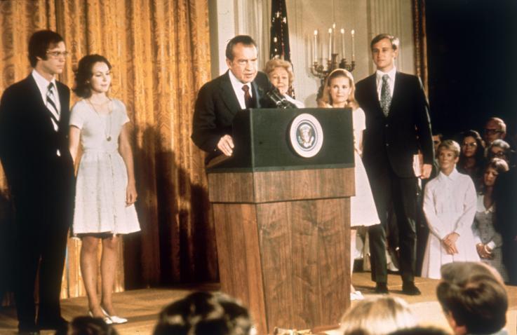 Richard M Nixon resigns the Presidency