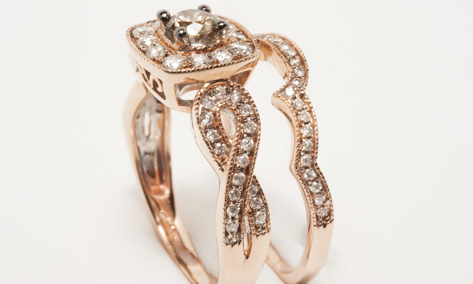 14k rose gold diamond chocolate bridal