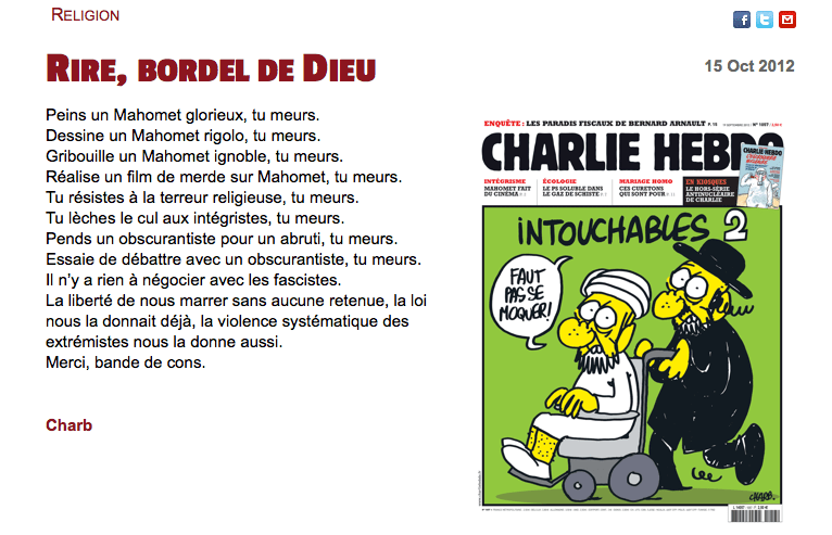 Poème de Charb + couverture.