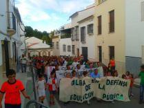 Manifestación a su paso por la calle San Juan de la Palma