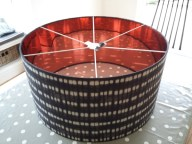 Very large copper lined lampshade, Scion fabric on outside