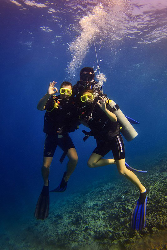 discover scuba divers on safety stop