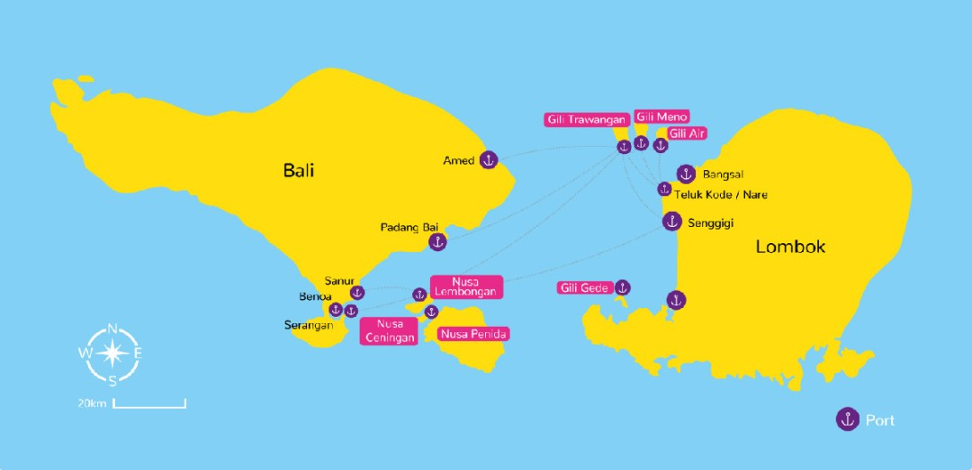 transportation map to Gili Trawangan