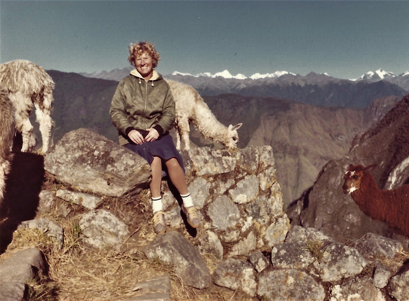 Gillian Angrave in Macchu Picchu, one of the images in her book From Oceans to Embassies
