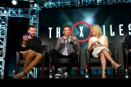 """Actors Joel McHale (L), David Duchovny and Gillian Anderson of """"The X Files"""" speak during the Fox Network presentation at the Television Critics Association (TCA) winter press tour in Pasadena, California January 15, 2016. REUTERS/David McNew"""