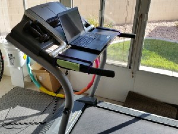 Day 9. Ready to work on the treadmill in the sunroom. Homemade writing desk made from a shelf and two bungie cords. I had just set it up when temps hit 104 degrees! So we moved it into my office.