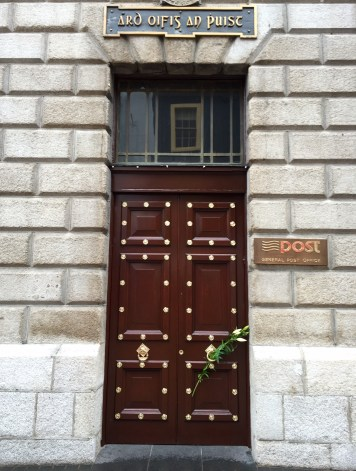A lily on the door of the GPO