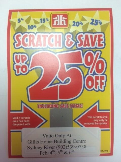 Scratch & Save Gillis Home Hardware