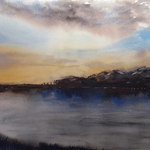 Watercolour painting seascape