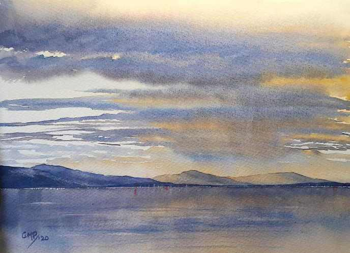 In the Distance Watercolour seascape