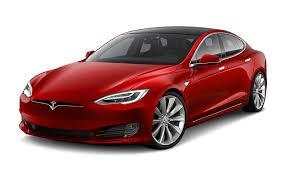 Red Tesla model S - auto pilot
