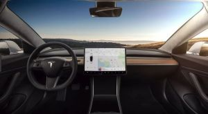 interior shot of Tesla Model 3