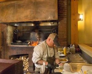 cutting meat in the von trapp lodge kitchen