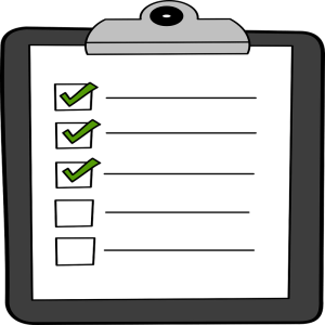 shelter in place checklist on a clipboard