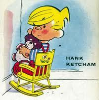 Dennis the Menace sheltering in place and sitting in the corner