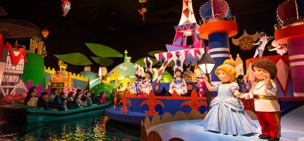Riding in a boat through Disney's ride titled It's a Small World