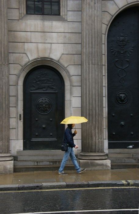 Yellow umbrella, Royal Exhange Square, London