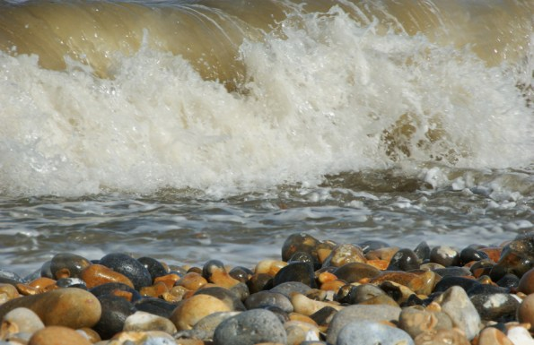 Waves and pebbles, Sandwich Bay, Kent