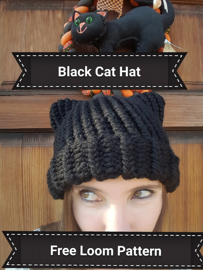 Black Cat Hat Loom Knit Gilly Gnits
