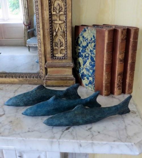 Three Salmon Swimming, bronze sculpture, fish bronze fish, fishing
