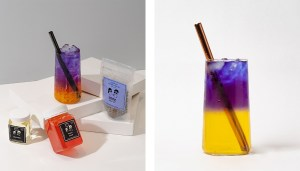 Butterfly Pea Fruit Bubble Tea Kit and Drink