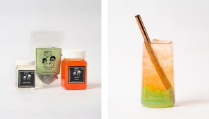 Peach Fruit Bubble Tea Kit and Drink with Green Apple Popping Pearls