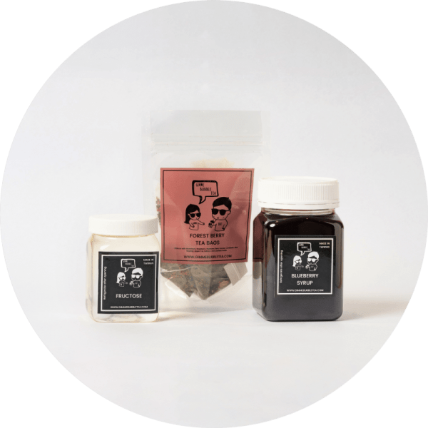 Blueberry Fruit Bubble Tea Kit with Forest Berry Pyramid Tea Bags