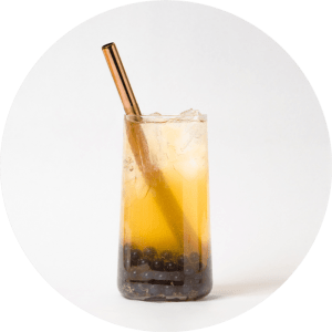 Pineapple Fruit Bubble Tea with Blueberry Popping Pearls