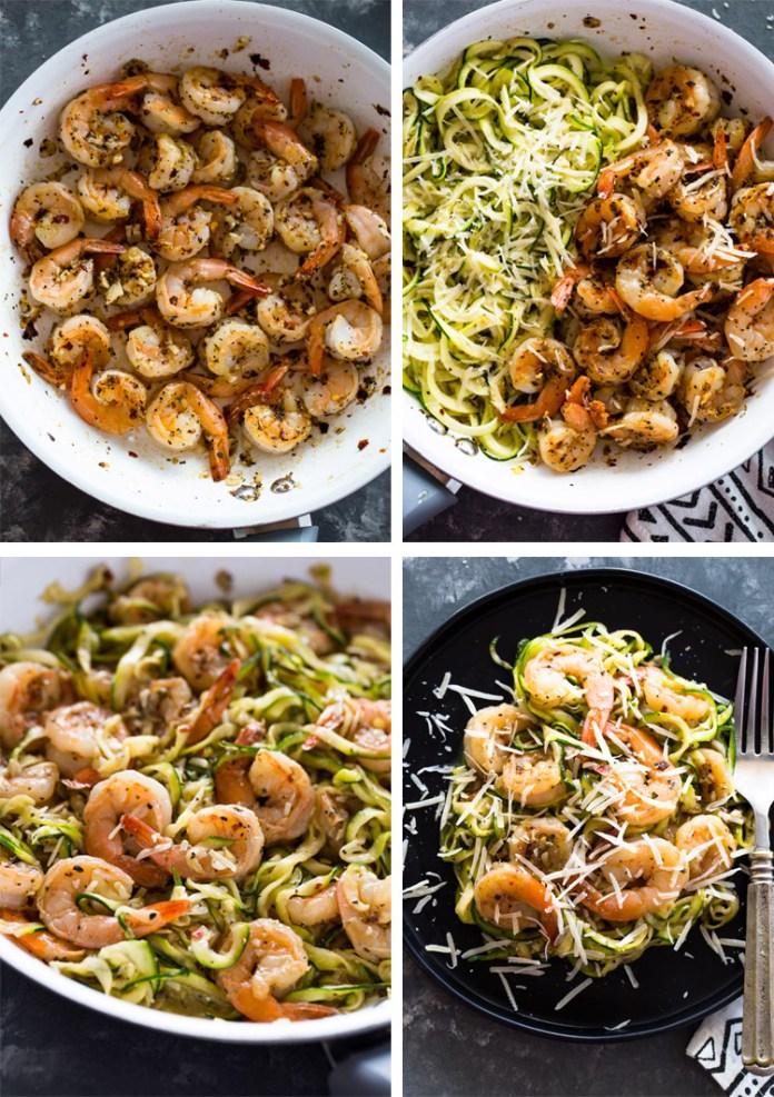 15 minute Garlic Shrimp Zucchini Pasta (One Pan)