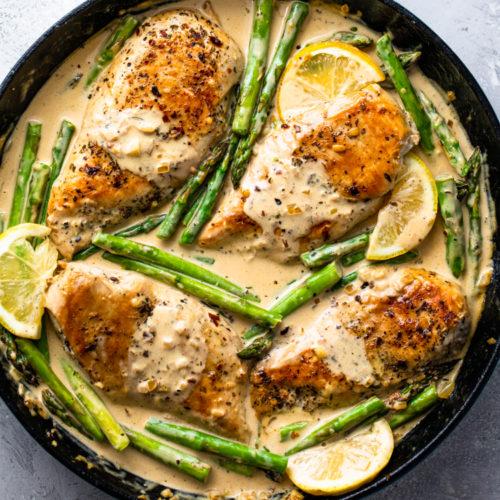 Creamy Lemon Chicken With Asparagus Gimme Delicious