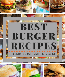 Fourteen pictures of hamburgers as the background for text Best burger recipes