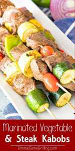 Marinated Grilled Vegetable and Steak Kabobs Pinterest