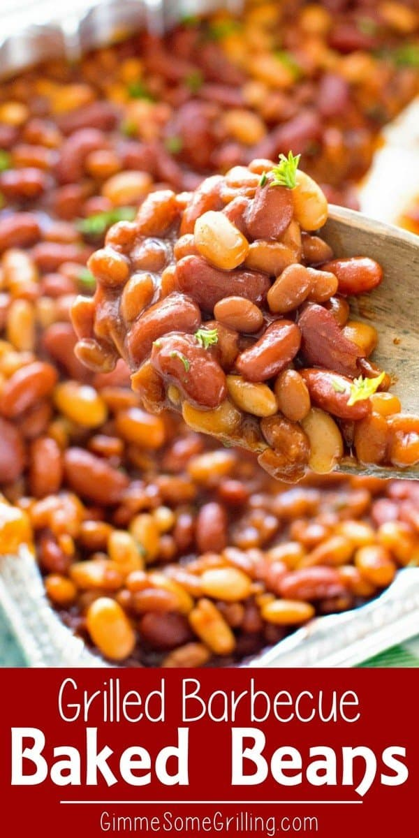 These Easy BBQ Baked Beans On the Grill are Loaded with three different types of beans! The addition of barbecue sauce to these grilled baked beans takes them up a notch. If you are looking for an easy grilled side dish this is your answer! #grill #grilled #bakedbeans #sidedish via @gimmesomegrilling