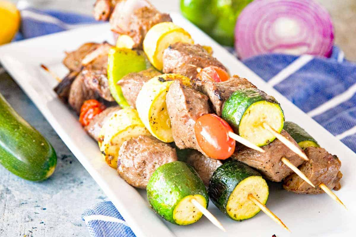 Marinated Grilled Vegetable and Steak Kabobs Landcape