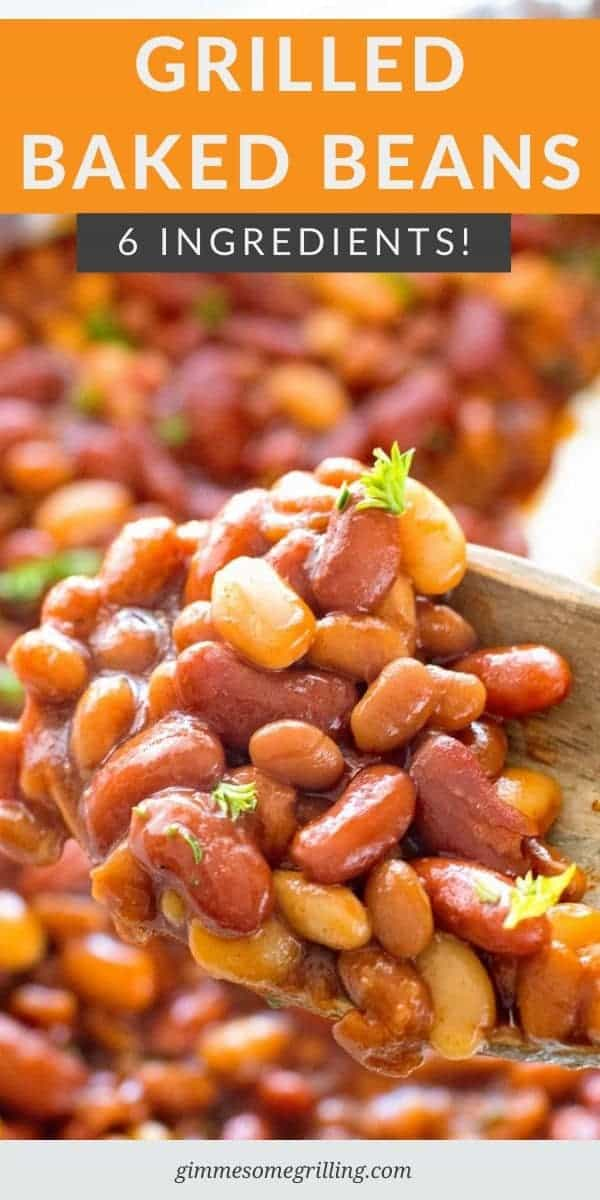 If you are grilling this summer you need to try these BBQ Baked Beans On the Grill for a quick and easy side dish recipe. With three different types of beans, seasonings and BBQ Sauce they are delicious. So easy, always a hit so you'll be making them again and again. #baked #beans via @gimmesomegrilling