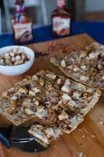 Barbecue Chicken and Caramelized Onions and Bacon Grilled Pizza