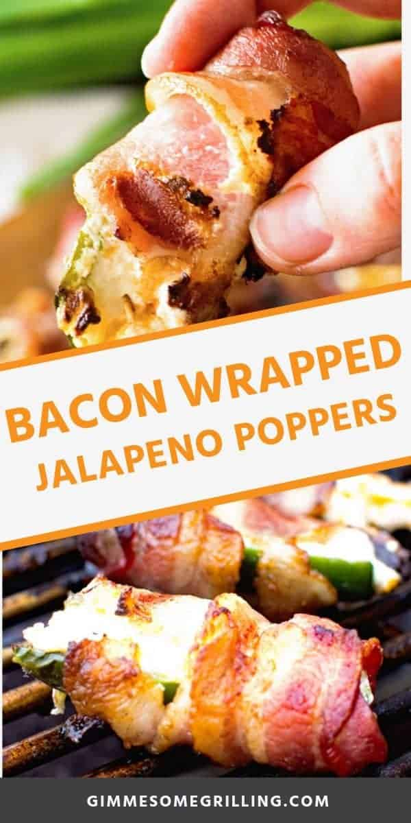 These Bacon Wrapped Jalapenos are always a hit appetizer recipe for any party! You can either bake them in the oven or throw them on the grill if you are entertaining outdoors this summer. Delicious jalapenos stuffed with a cheesy cream cheese filling and wrapped in crispy bacon! #recipe #appetizer